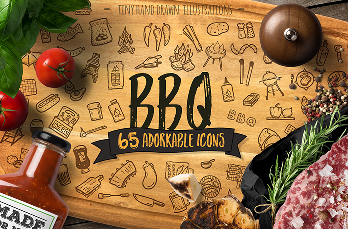 Hand Drawn Barbecue BBQ Icons Cookout Vector Pack Cover GSNN