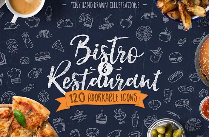 Bistro And Restaurant Hand Drawn Illustration