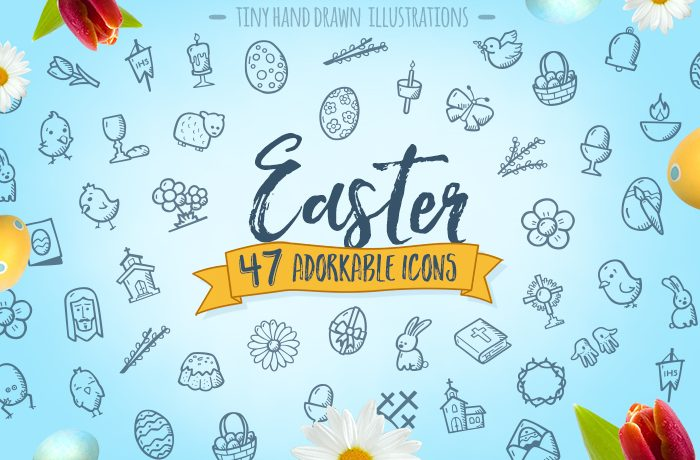 Hand Drawn Easter Icons Cute Vector Icon Pack