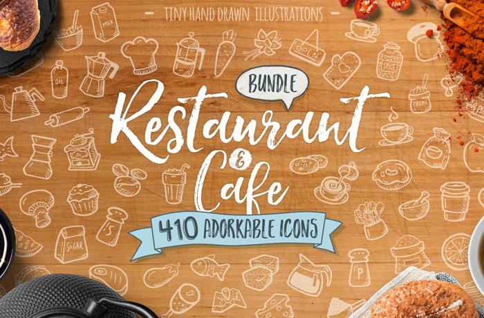 Hand Drawn Restaurant Coffee Kitchen Food Icons Vector Bundle GSNN Cvr
