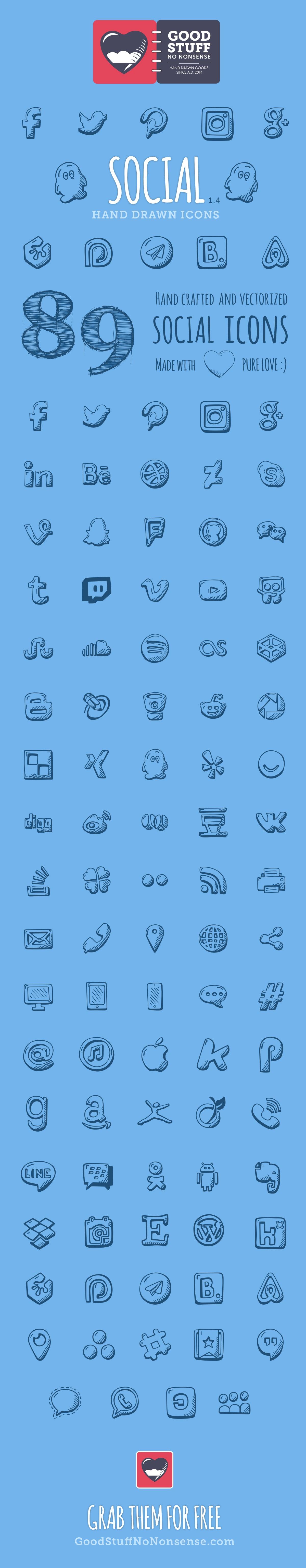 Free Social Media Icons - Hand Drawn Icons