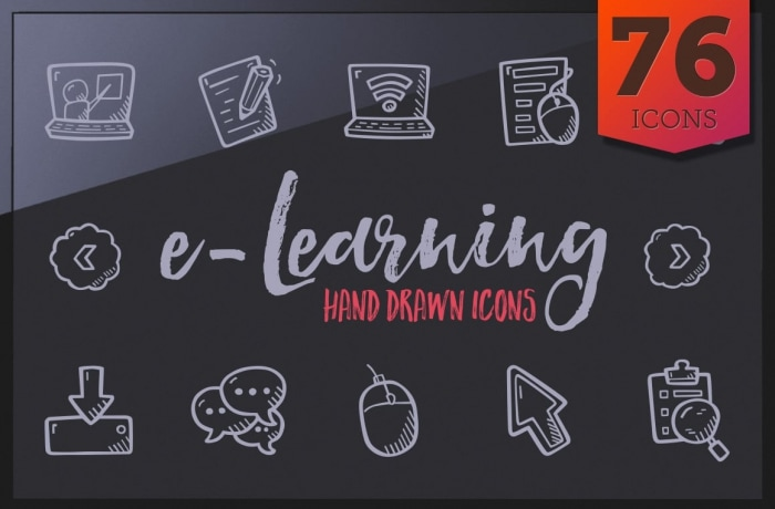 E-learning Icon - Hand Drawn Icons - Cover