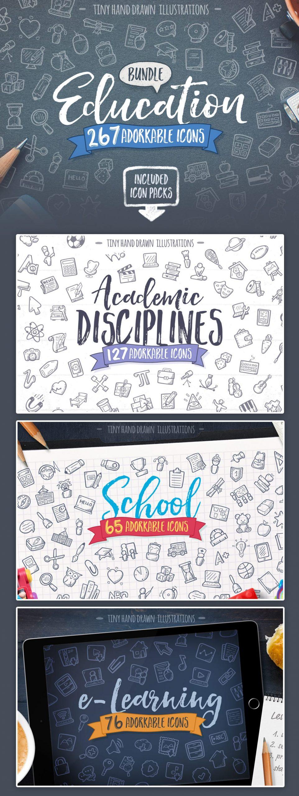 Hand Drawn Education Icons Bundle-School-Academic-E Learning