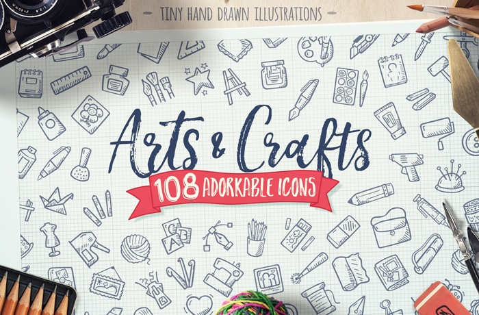 Hand Drawn Cute Arts And Crafts Icon Set Craft Tools Vector Pack Cover