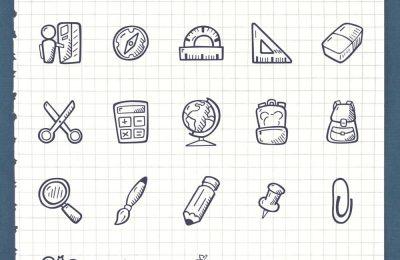 Back To School Hand Drawn Icons School Set