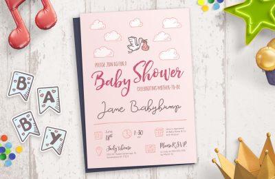 Baby Shower Hand—Drawn Icons Invitation Mockup