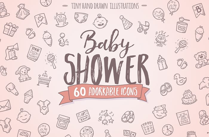 Baby Shower Cute Hand Drawn Icons