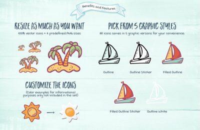 Hand Drawn Summer Beach Icons Bonus Benefits Features