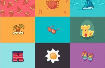 Hand Drawn Summer Beach Icons Bonus Cards