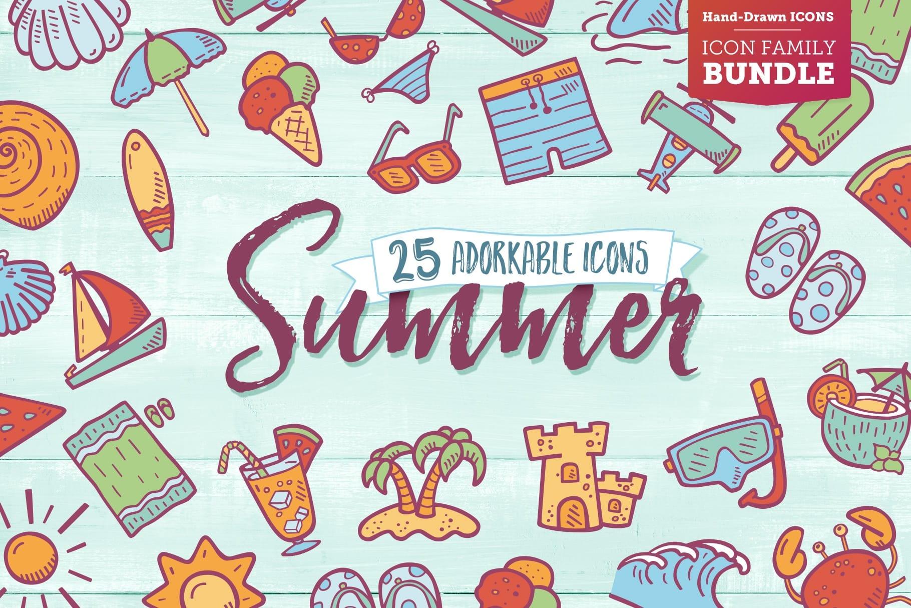 Hand Drawn Summer Beach Icons