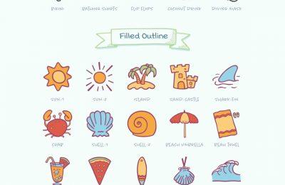 Hand Drawn Summer Beach Icons Full Preview Clean