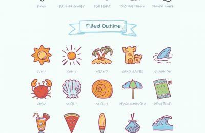 Hand Drawn Summer Beach Icons Full Preview Regular