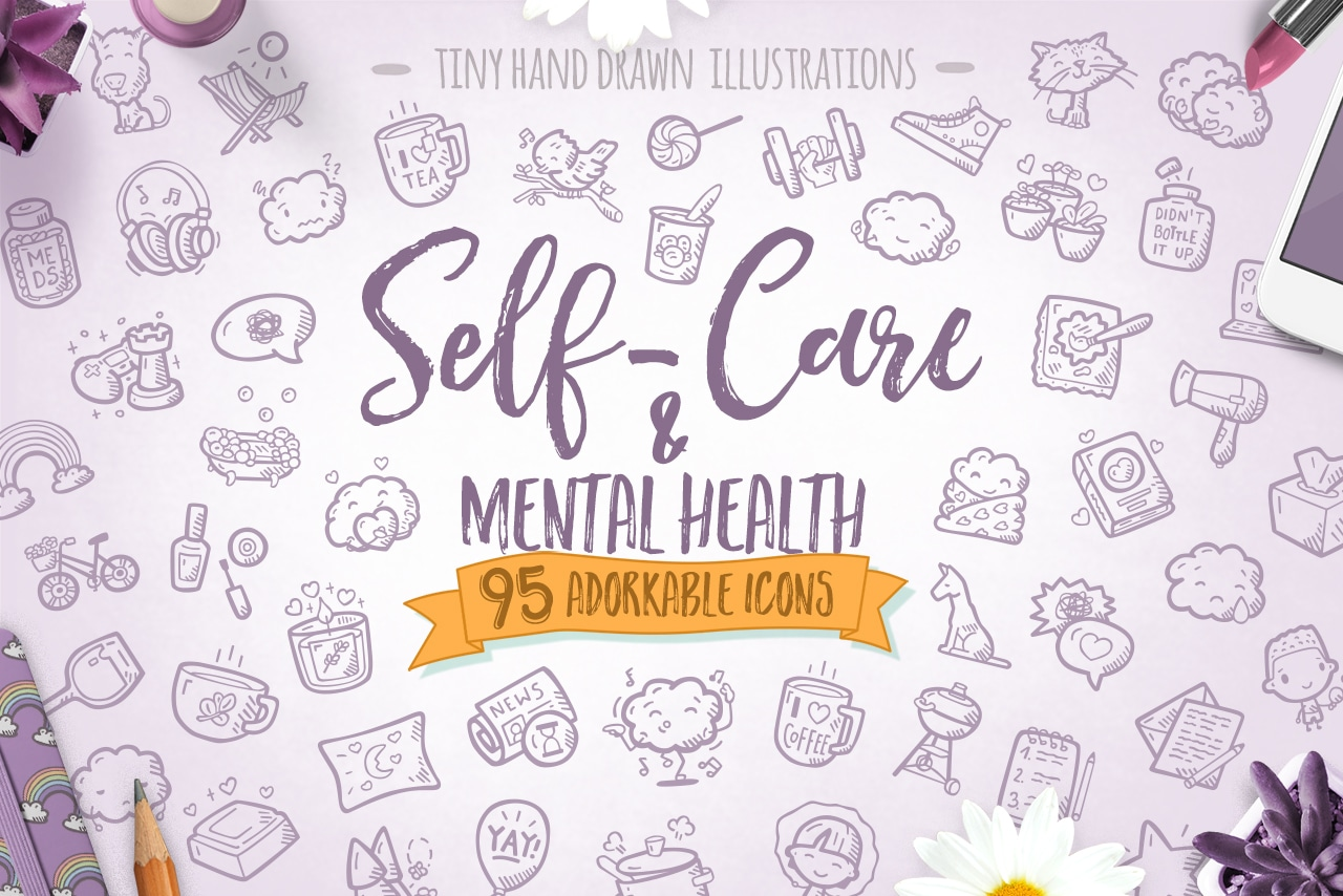 Self Care And Mental Health Hand Drawn Icons Cover